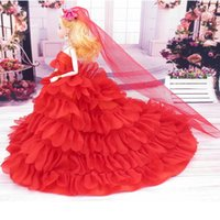 barbi doll - 3 Fashion Doll and Clothes Princess Party Wedding Dress Gown Wears With Veil For Barbi Toys For Girls Great Christmas Gifts