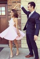 Wholesale Simple Blush Pink Cheap Short Graduation Dresses A line Satin Halter Backless Princess Designer Mini Prom Homecoming Party Dress