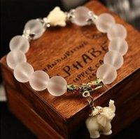 Wholesale Crystal Elephant Cuff Bracelet - Wholesale-New Fashion Natural frosted crystal bracelet little cute elephant pendant high quality Natural Stone beaded bracelet XY-B27