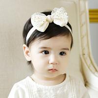 beige hair bow - New Infant Girls Hairband Gauze Cotton Hair Bow Flower Headbands Childrens Hair Accessories Toddler Newborn Elastic Headband Pink Beige
