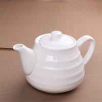 porcelain teapot white - Freeshipping Kongfu tea set Supplies ceramic tableware white porcelain ceramic teapot coffee pot two thread pot cc