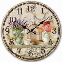 antique large vases - Retro Vintage Style Large Clock Bird Cage Lavender Flower Vase Home Decorative Wall Clock Wood CM