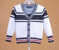 Wholesale retail mens sweaters kids cardigan v neck boys knitted sweaters striped