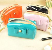 Wholesale LJJG234 Wonmen Makeup Bag Bowknot Cosmetic Bags Cases Fashion Leather Organizer Bags Candy Color Zipper Portable Handbag