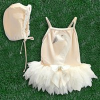 Wholesale New Hot Sale White Swan Girls Tutu Swimwear Children Swim Suits Kids Lovely Lace Swim