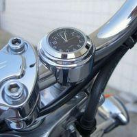aluminum clocks - 1PC Universal Chrome Motorcycle Waterproof Handlebar Mount Clock black hot selling Cheap clock silver