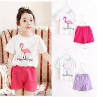 baby crane - New children girl Summer flamingo outfits Crane printing T shirt short pants cotton baby clothing DHL shipping C1038