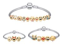 Wholesale Christmas Gift Beads Emoji Charms Bracelet Newest Fashion Emoji Bracelet Strands Smile K Gold Plate Alloy Bracelets Model