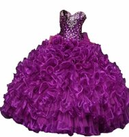 Wholesale In Stock Quinceanera Dresses Ball Gowns With Organza Ruffles Beading Sweet Dresses Prom Quinceanera Gowns