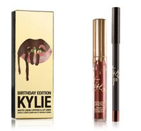 Wholesale ot sell Kylie Jenner Lip Kit Lord Metal LEO Gold lipstick THE LIMITED EDITION birthday Cosmetic lip kits set lipsticks lipliner