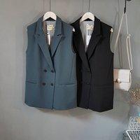 Wholesale Women Vests Outerwear Elegant Office Lady Womens Waistcoats Veste Femme Colete pocket coat sleeveless vests jacket