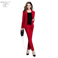 Wholesale ElaCentelha Brand Dress Suits Sets Autumn Winter Women High Quality Work OL Office Solid Turn Down Collar Slim New Pant Suits