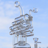 liquid glass - 2016New liquid glass arts glass water pipes glass bubbler glass bongs Violin Recycler with tyre perc mm female joint