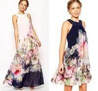Wholesale 2 Styles Women s Summer Beach Chiffon Maxi Boho Dresses Floral Print Halter Sleeveless Casual Dresses Long Mini Short Party Dress OXL072901