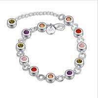 Bracelet en pierre de Zircon impressionnant Sencond Style Argent Chain Link Bracelet Placage Argent 925 Infinity Bracelets Bracelets Accessoires Bijoux