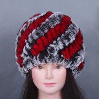 Wholesale Fur hat knitting rabbit warm hat ladies fashion hat