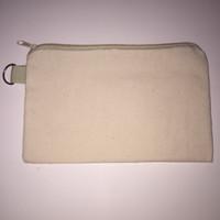 bag blanks - 20pcs cotton canvas cosmetic Bags women blank plain zipper makeup bags Mobile phone clutch bag organizer cases pencil pouches
