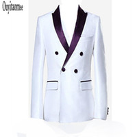 Wholesale Groom Tuxedos Groomsmen Custom Made White Side Vent Slim Fit Best Man Suit Wedding Men s Suits Bridegroom