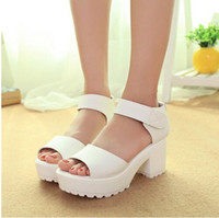 Wholesale Factory direct sale Women Summer shoes white Black fashion platform soft PU sandals women s high heeled shoes thick heel sandals