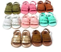 beach walks - 2016 tassel PU soft bottom newborn baby barefoot beach sandals CM CM cm children casual indoor walking toddler sandals Z
