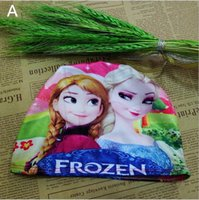 Wholesale Kids Frozen Cartoon Cotton Hat Elsa Anna Elasticity Rivets Envelope Bag Swimming Hat Children s Bath Caps
