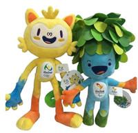 big kid mascots - 2016 Brazil Olympic Mascots Vinicius and Tom Stuffed Toys Souvenirs Cartoon Plush Toy cm color