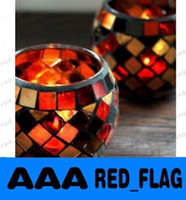 Glass aroma tea cup - Mosaic Handicraft Glass Candle Holder Color Tea Light Candlestick Windproof Aroma Oil Candle Cup Home Decoration LLY99