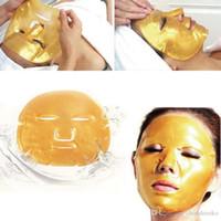 Wholesale 2016 HOT Gold Bio Collagen Facial Mask Face Mask Crystal Gold Powder Moisturizing Anti aging Collagen Facial Mask Free DHL FedEx
