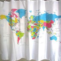 bath curtain map - Creative World Map Shower Curtain Bathroom Curtain Waterproof Polyester Bath Curtain cm