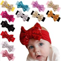 big bow headbands - Girl Hair Accessories Sequined Big Bow Baby Headbands paillette Headdress Soft Cotton Hairband Infant Toddler Christmas Gift truelovewangwu