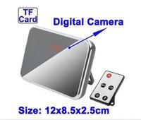 Wholesale HD Spy Camera Digital Mirror Clock Style Hidden Camera DVR T1000 with Motion Detection Remote Control