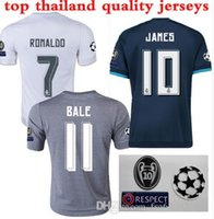 Wholesale 2016 Real Madrid home jersey men s football shirt ucl badges player version slim fit ronaldo isco james sergio ramo free shippi