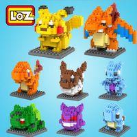 Wholesale 8 Style Poke Go Figure Minifigure Building Blocks DIY Pikachu Squirtle Model Toys Miniature Diamond Brick Boys Toys