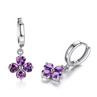 Wholesale Four Leaf Clover Cubic Zirconia Drop Silver Earrings Guaranteed Solid Sterling Silver Drop Earrings YH1061