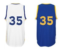 Wholesale New Men s Basketball DURANT White And Blue Home Away Authentic Jersey High Quality And Stitched Wear
