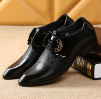 Wholesale 2016 Men s new british style fashion casual business leather shoes mens party dress wedding shoes black color joint patene leather