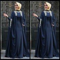 arabian pictures - Robe de soiree Saudi Arabian Navy Blue Arabic Evening Dresses Appliques Abaya Dubai Full Sleeve Muslim Moroccan Kaftan