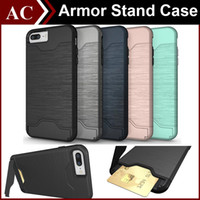 Wholesale iP7 Brushed Hybrid Hard PC TPU Tough Armor Case for iPhone S Plus Galaxy Note in Kickstand Cover With Slim Card Slot Back Skin