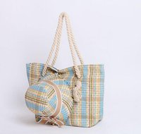 Wholesale New Fashion straw bag with straw hat magazine portable female bag straw bag stripe weave beach bag women and girls beach bag and hat