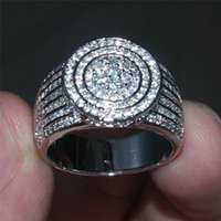 De lujo 925 anillos de piedras preciosas completo de la plata esterlina 365PCS pavimenta el diamante simulado CZ anillos de dedo de la novia de la boda joyería para las mujeres