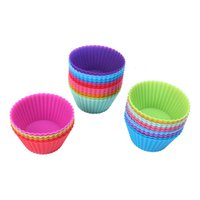 Wholesale 12pcs Multi color Silicone Cake Liner Case Muffin Cupcake Mold Round Shape Baking Mould for Kitchen Cooking