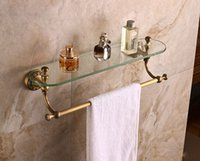 antique glass bath - Wall Mounted Single Tier Bath Glass Cesmestic Holder Storage Shlef Antique Brass