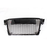 audi front grill - 09 A4 Black Painted ABS Front Bumper Honey mesh Grill Grille With Parking Sensors for Audi A4 S4 RS4 B8 K Avant