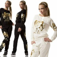 Wholesale 2016 New Fashion Women s Clothing Sport Casual Sets Lady Set Formal Tracksuits Woman clothes Long Sleeve Lion Suits Black White A5564