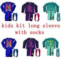 Wholesale 16 Barcelona kids kit long jerseys A INIESTA kit SUITEZ MESSI NEYMAR JR jerseys Thai Quality Home