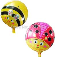air balloon festival - 1pc18 quot round balls ladybird helium foil balloons birthday party decorations honeybee air balloons festival globes party supplies