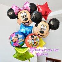 balls themes - 8pcs Inflatable Cartoon Mickey Festa Balls Minnie Theme Party Decorations Balloons Happy Birthday Decorations Foil Balloons