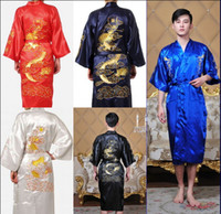 Wholesale M XL Sexy Men s The new embroidery Dragon pajamas nightgown Japanese Silk Kimono Robe Pajamas Nightdress Sleepwear color