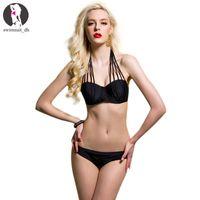 bandeau swimsuit sale - Hot Sale Sexy Multi String Bikini Push Up Strapy Swimsuit Bandeau Women Swimwear Padded Biquini Maillot De Bain Red Black