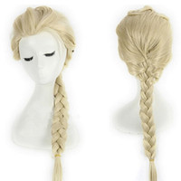 Wholesale Cosplay Full Lace Wigs Elsa Princess White Fluffy Long Synthetic Hair Cartoon Pigtail Blonde Braids Ponytail Wigs Adult Kid